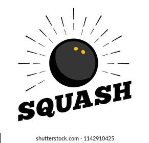 Vector squash sport ball logo icon sun burtst print hand drawn vintage line art design