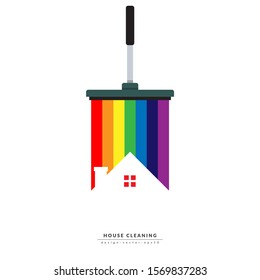 vector of squeegee scraping colorful rainbow over roof of house. home cleaning service business banner template