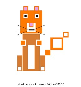 Vector squirrel are made of squares and rectangles