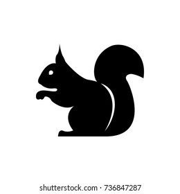 Vector squirrel silhouette view side for retro logos, emblems, badges, labels template vintage design element. Isolated on white background