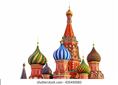 Vector of St. Basil cathedral on Red Square in Moscow, Russia