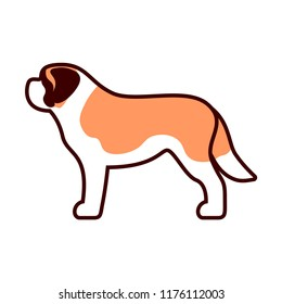 Vector St Bernard Dog Icon Isolated On White Background