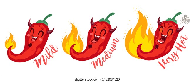 Vector st illustration of a spicy chilli peppers with flame. Cartoon red chilli for mexican or thai food. Cartoon different red chillies. Devil chili