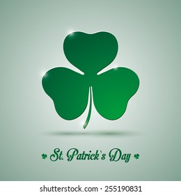 Vector St. Patrick clover leaf template with shadow