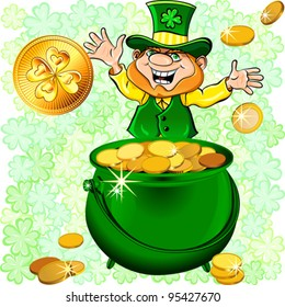 Vector St. Patrick's Day happy leprechaun with a pot full of gold money coin