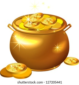 vector St. Patrick`s Day shiny gold pot filled with leprechaun coins isolated on the white background