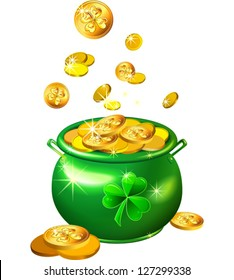vector St. Patrick`s Day shiny green pot filled with leprechaun gold coins isolated on the white background