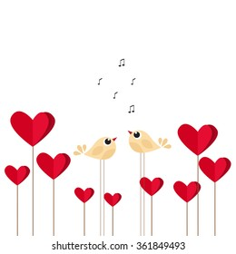 Vector St Valentine day's greeting card. Cute birds in love
