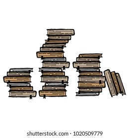 Vector of a stack of books. Many different books. Books with bookmarks and textbooks. Hand drawn.