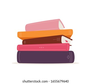 Vector stack of books. Pile of books isolated on white background. Colorful illustration