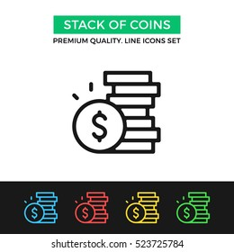 Vector stack of coins icon. Premium quality graphic design. Modern signs, outline symbols collection, simple thin line icons set for websites, web design, mobile app, infographics