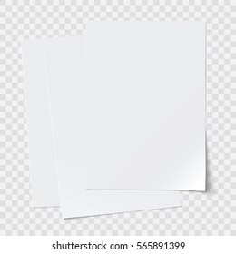 vector stack of papers, transparent shadows, grouped, can be moved separately