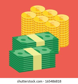 Vector Stacks of Dollars and Golden Coins Icon