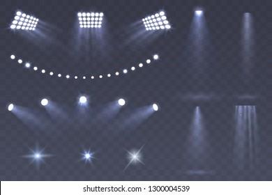 Vector Stadium spotlights. Scene spotlights set isolated on transparent background. Bright illumination. light sources for your design. Glowing stars. Eps 10.