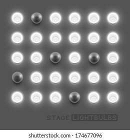Vector stage light bulbs.Vector illustration.