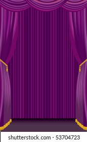 vector stage with purple curtain