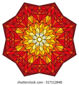 Vector stained glass colorful ornament in red, orange and yellow.