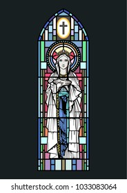 Vector Stained Glass Window The Virgin Mary