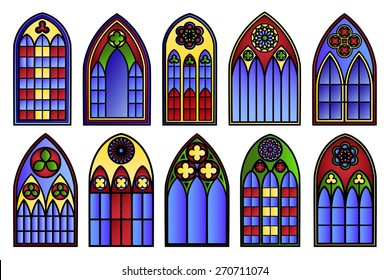 Vector Stained Glass Windows Set Decoration Frame Decorative Exterior Art Silhouette