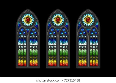 Vector Stained-Glass Gothic Window Design