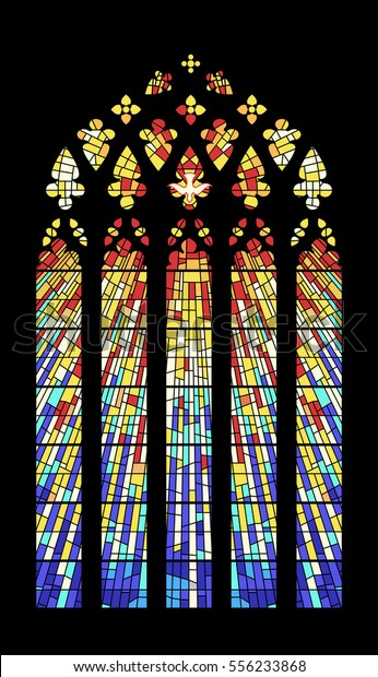 Vector Stainedglass Window Ancient Cathedral Temple Stock Vector ...