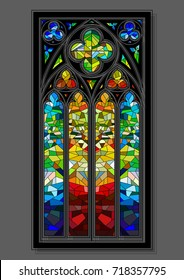 Vector Stained-Glass Window Gothic Design