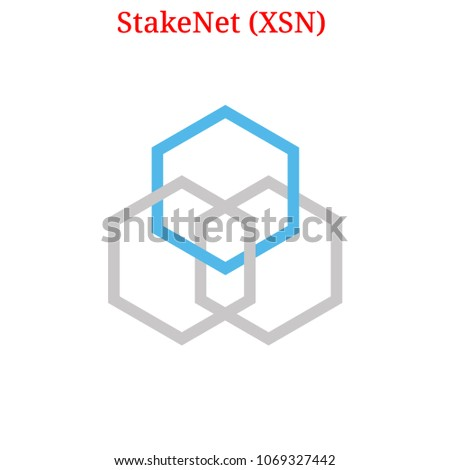 Vector Stake Net XSN Digital Cryptocurrency Logo Stock Vector