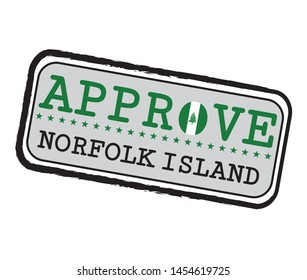 Vector Stamp for Approve logo with Norfolk Flag in the shape of O and text Norfolk Island. Grunge Rubber Texture Stamp of Approve from Norfolk Island.