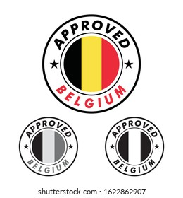 Vector Stamp of Approved logo with Belgium Flag in the round shape on the center