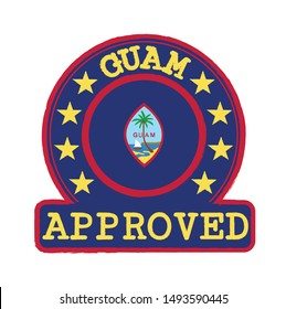 Vector Stamp of Approved logo with Guam Flag in the round shape on the center. Grunge Rubber Texture Stamp of Approved from Guam.