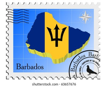 vector stamp with the image maps of Barbados