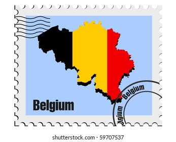 vector stamp with the image maps of Belgium