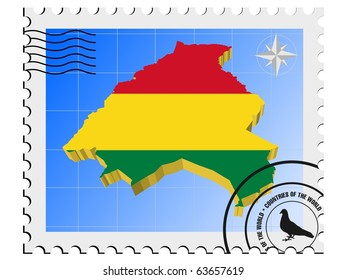 vector stamp with the image maps of Bolivia
