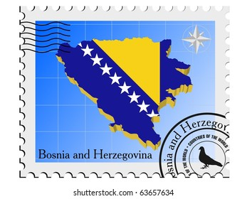 vector stamp with the image maps of Bosnia and Herzegovina