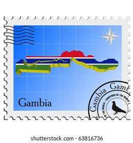 vector stamp with the image maps of Gambia