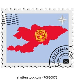 vector stamp with the image maps of Kyrgyzstan