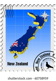 vector stamp with the image maps of New Zealand