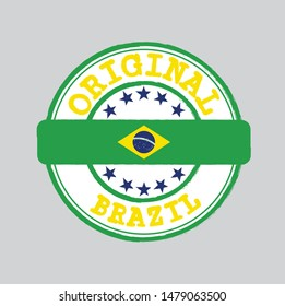 Vector Stamp of Original logo with text Brazil and Tying in the middle with nation Flag. Grunge Rubber Texture Stamp of Original from Brazil.
