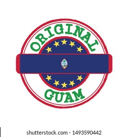 Vector Stamp of Original logo with text Guam and Tying in the middle with nation Flag. Grunge Rubber Texture Stamp of Original from Guam.