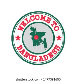 Vector stamp of welcome to Bangladesh with map outline of the nation in center. Grunge Rubber Texture Stamp of welcome to Bangladesh.