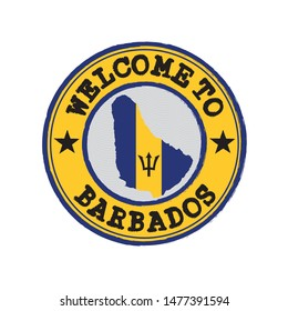 Vector stamp of welcome to Barbados with map outline of the nation in center. Grunge Rubber Texture Stamp of welcome to Barbados.
