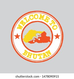 Vector stamp of welcome to Bhutan with map outline of the nation in center. Grunge Rubber Texture Stamp of welcome to Bhutan.