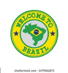 Vector stamp of welcome to Brazil with map outline of the nation in center. Grunge Rubber Texture Stamp of welcome to Brazil.