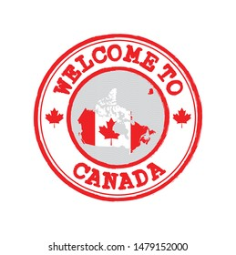 Vector stamp of welcome to Canada with map outline of the nation in center. Grunge Rubber Texture Stamp of welcome to Canada.