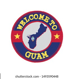 Vector stamp of welcome to Guam with map outline of the nation in center. Grunge Rubber Texture Stamp of welcome to Guam.