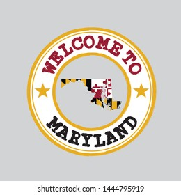 Vector Stamp of welcome to Maryland with states flag on map outline in the center. Grunge Rubber Texture Stamp of welcome to Maryland.