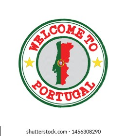 Vector stamp of welcome to Portugal with map outline of the Portuguese in center. Grunge Rubber Texture Stamp of welcome to Portugal.