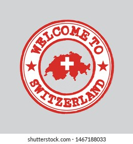 Vector stamp of welcome to Switzerland with map outline of the nation in center. Grunge Rubber Texture Stamp of welcome to Switzerland.