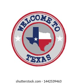 Vector Stamp of welcome to Texas with states flag on map outline in the center. Grunge Rubber Texture Stamp of welcome to Texas.