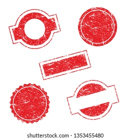 Vector Stamp without text. Set of Stamps. Red Stamps. Grunge Rubber Texture Stamp. Distressed Stamp Texture. Post Stamp Collection. Vector Stamps. Circle Stamps.